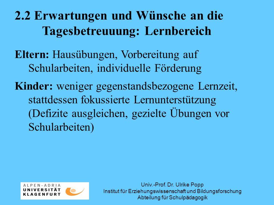 Univ.-Prof. Dr. Ulrike Popp Institut für Erziehungswissenschaft und Bildungsforschung Abteilung für Schulpädagogik 2.2 Erwartungen und Wünsche an die