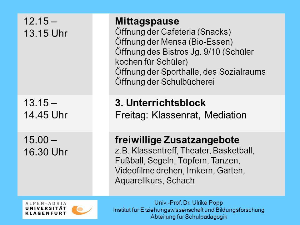 Univ.-Prof. Dr. Ulrike Popp Institut für Erziehungswissenschaft und Bildungsforschung Abteilung für Schulpädagogik 12.15 – 13.15 Uhr Mittagspause Öffn