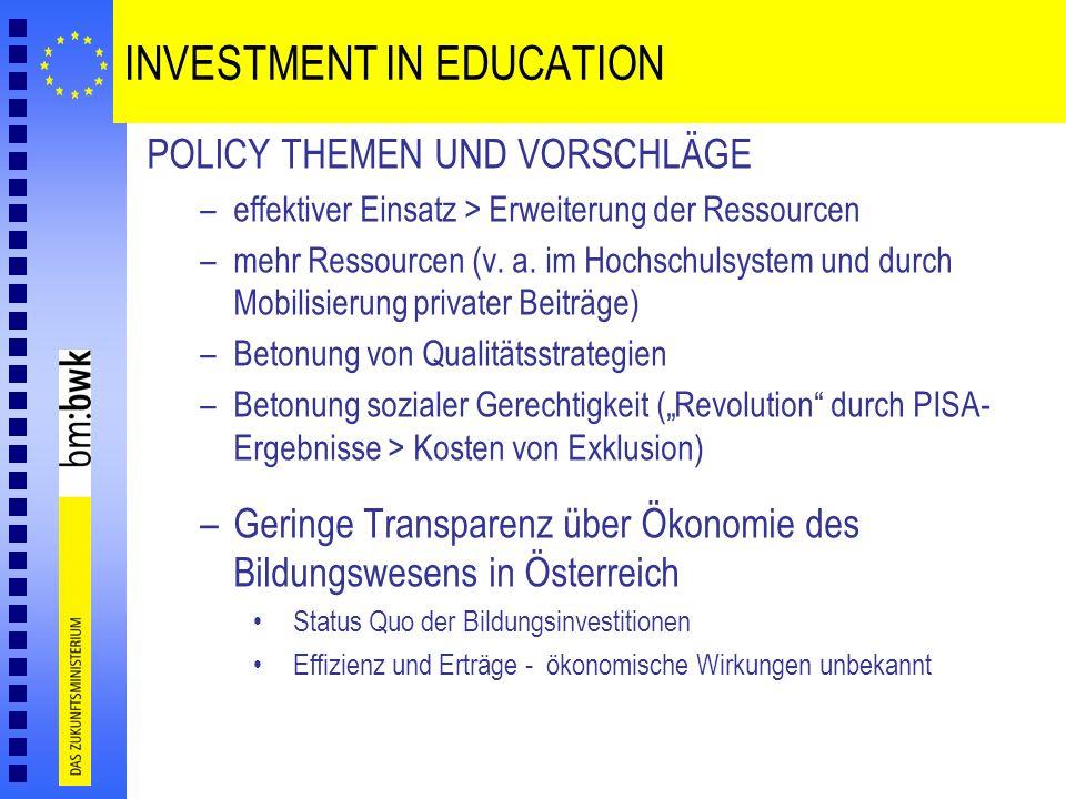 INVESTMENT IN EDUCATION POLICY THEMEN UND VORSCHLÄGE –effektiver Einsatz > Erweiterung der Ressourcen –mehr Ressourcen (v. a. im Hochschulsystem und d