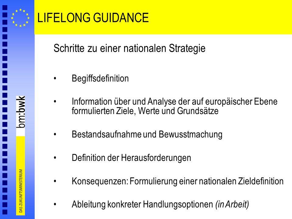 LIFELONG GUIDANCE Schritte zu einer nationalen Strategie Begiffsdefinition Information über und Analyse der auf europäischer Ebene formulierten Ziele,