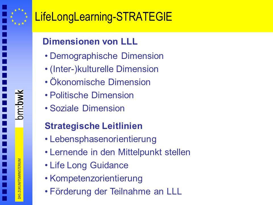LifeLongLearning-STRATEGIE Dimensionen von LLL Demographische Dimension (Inter-)kulturelle Dimension Ökonomische Dimension Politische Dimension Sozial