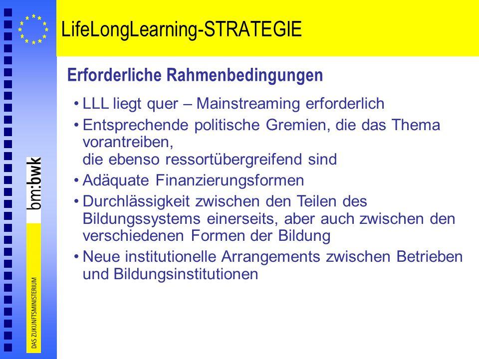 LifeLongLearning-STRATEGIE Erforderliche Rahmenbedingungen LLL liegt quer – Mainstreaming erforderlich Entsprechende politische Gremien, die das Thema