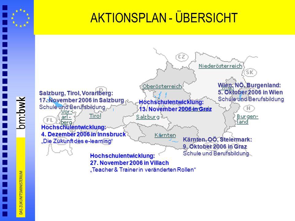 AKTIONSPLAN - ÜBERSICHT Wien, NÖ, Burgenland: 5. Oktober 2006 in Wien Schule und Berufsbildung Kärnten, OÖ, Steiermark: 9. Oktober 2006 in Graz Schule