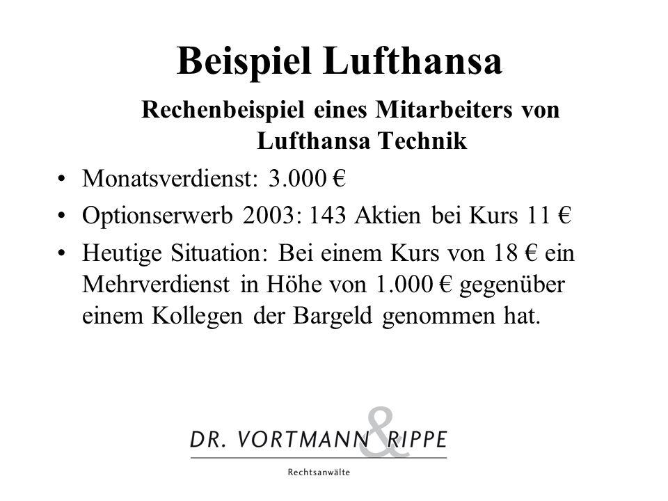 Beispiel Lufthansa Rechenbeispiel eines Mitarbeiters von Lufthansa Technik Monatsverdienst: 3.000 Optionserwerb 2003: 143 Aktien bei Kurs 11 Heutige S
