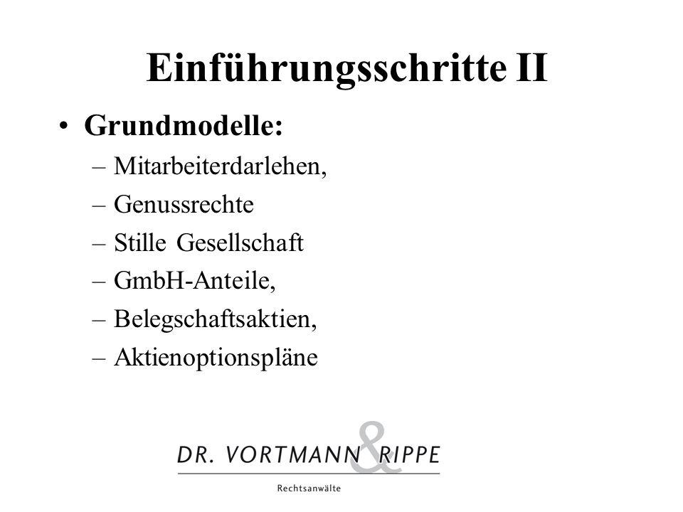 Einführungsschritte II Grundmodelle: –Mitarbeiterdarlehen, –Genussrechte –Stille Gesellschaft –GmbH-Anteile, –Belegschaftsaktien, –Aktienoptionspläne
