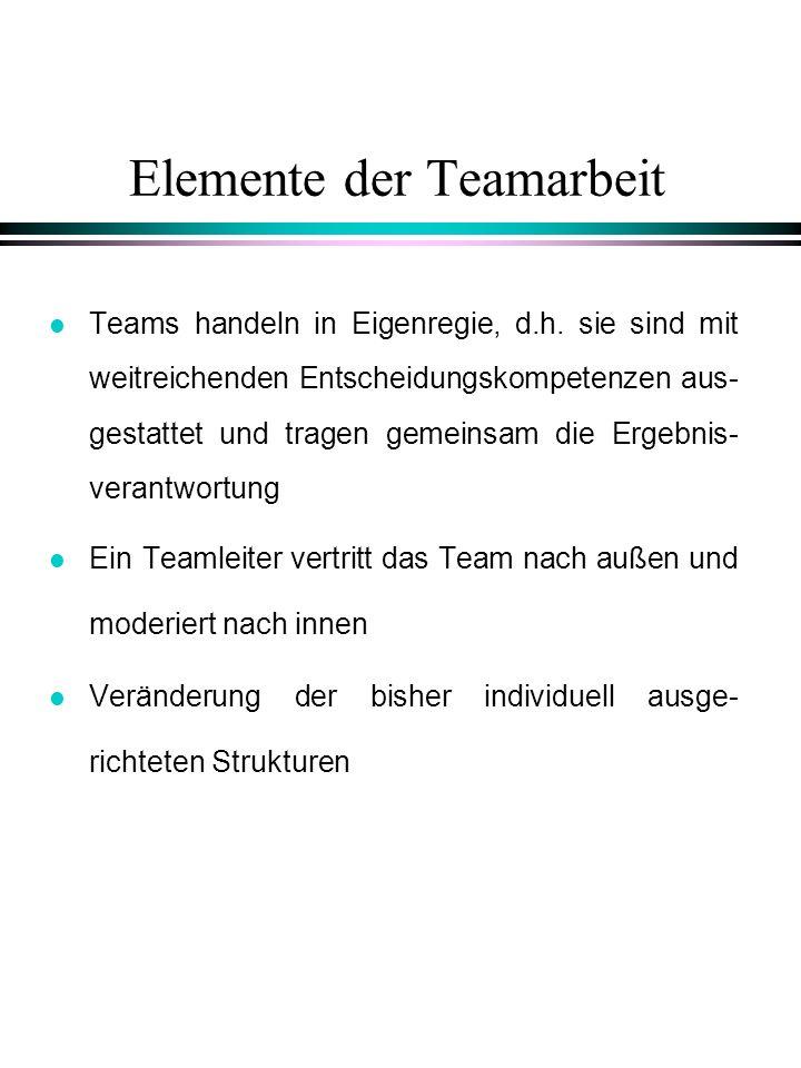 Elemente der Teamarbeit l Teams handeln in Eigenregie, d.h. sie sind mit weitreichenden Entscheidungskompetenzen aus- gestattet und tragen gemeinsam d