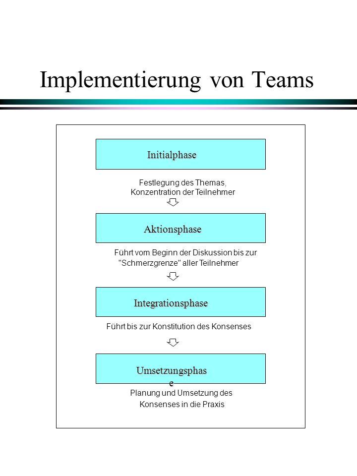 Implementierung von Teams Initialphase Aktionsphase Integrationsphase Umsetzungsphas e Festlegung des Themas, Konzentration der Teilnehmer Führt vom B