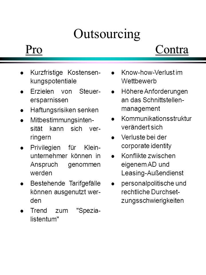 ProContra Outsourcing Pro Contra l Kurzfristige Kostensen- kungspotentiale l Erzielen von Steuer- ersparnissen l Haftungsrisiken senken l Mitbestimmun