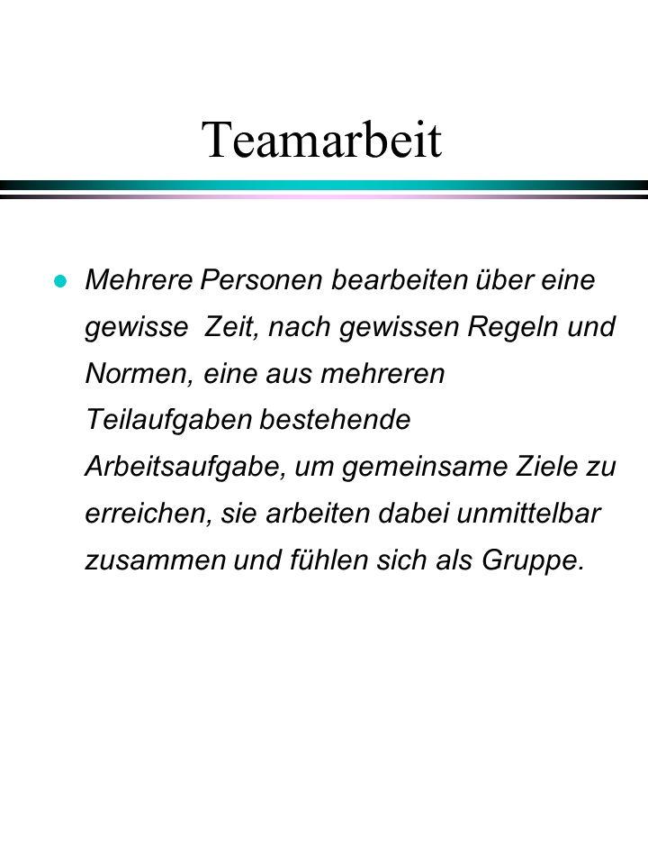 Elemente der Teamarbeit l Teams handeln in Eigenregie, d.h.