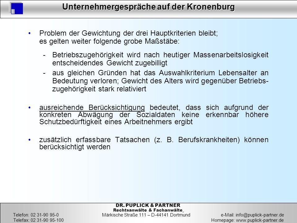 10 Unternehmergespräche auf der Kronenburg 10 DR. PUPLICK & PARTNER Rechtsanwälte & Fachanwälte Telefon: 02 31-90 95-0 Märkische Straße 111 – D-44141