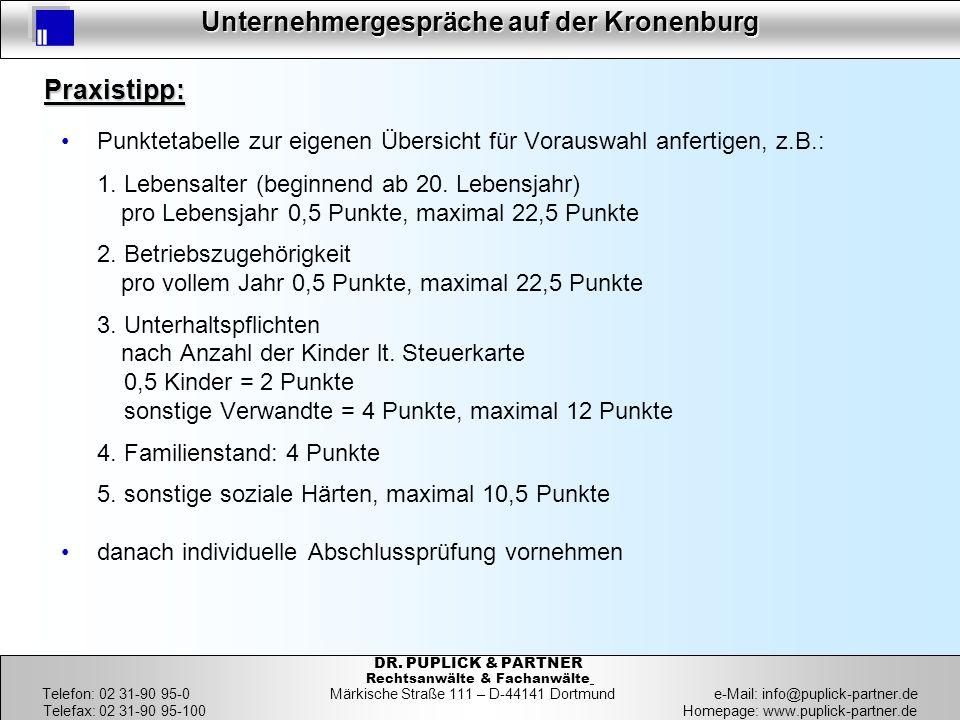 11 Unternehmergespräche auf der Kronenburg 11 DR. PUPLICK & PARTNER Rechtsanwälte & Fachanwälte Telefon: 02 31-90 95-0 Märkische Straße 111 – D-44141