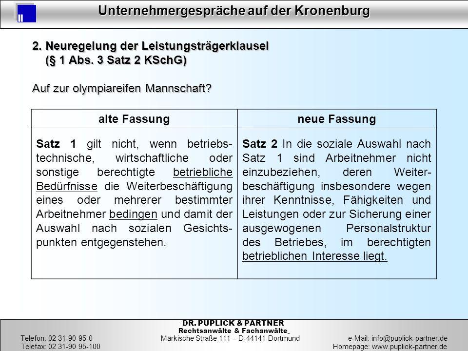 13 Unternehmergespräche auf der Kronenburg 13 DR. PUPLICK & PARTNER Rechtsanwälte & Fachanwälte Telefon: 02 31-90 95-0 Märkische Straße 111 – D-44141