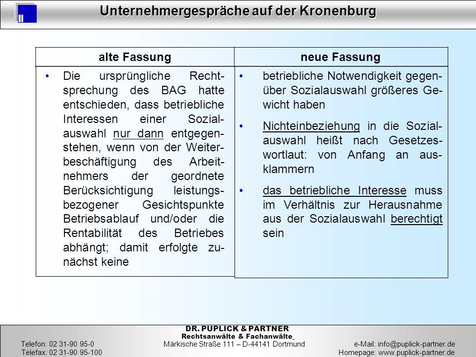 14 Unternehmergespräche auf der Kronenburg 14 DR. PUPLICK & PARTNER Rechtsanwälte & Fachanwälte Telefon: 02 31-90 95-0 Märkische Straße 111 – D-44141
