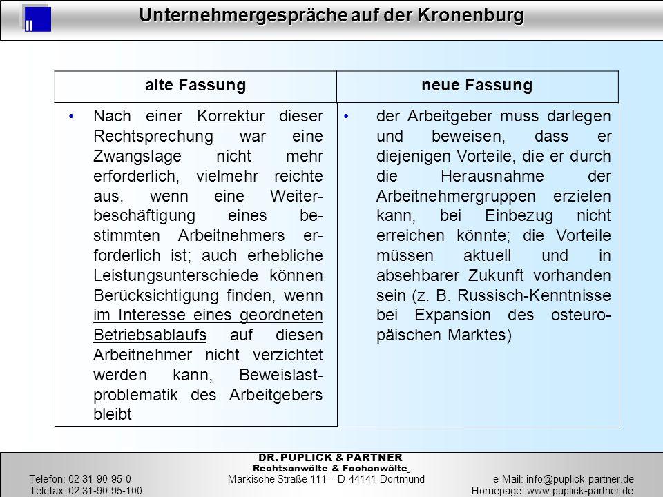 15 Unternehmergespräche auf der Kronenburg 15 DR. PUPLICK & PARTNER Rechtsanwälte & Fachanwälte Telefon: 02 31-90 95-0 Märkische Straße 111 – D-44141