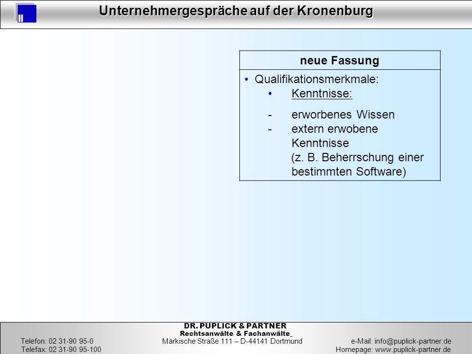 16 Unternehmergespräche auf der Kronenburg 16 DR. PUPLICK & PARTNER Rechtsanwälte & Fachanwälte Telefon: 02 31-90 95-0 Märkische Straße 111 – D-44141
