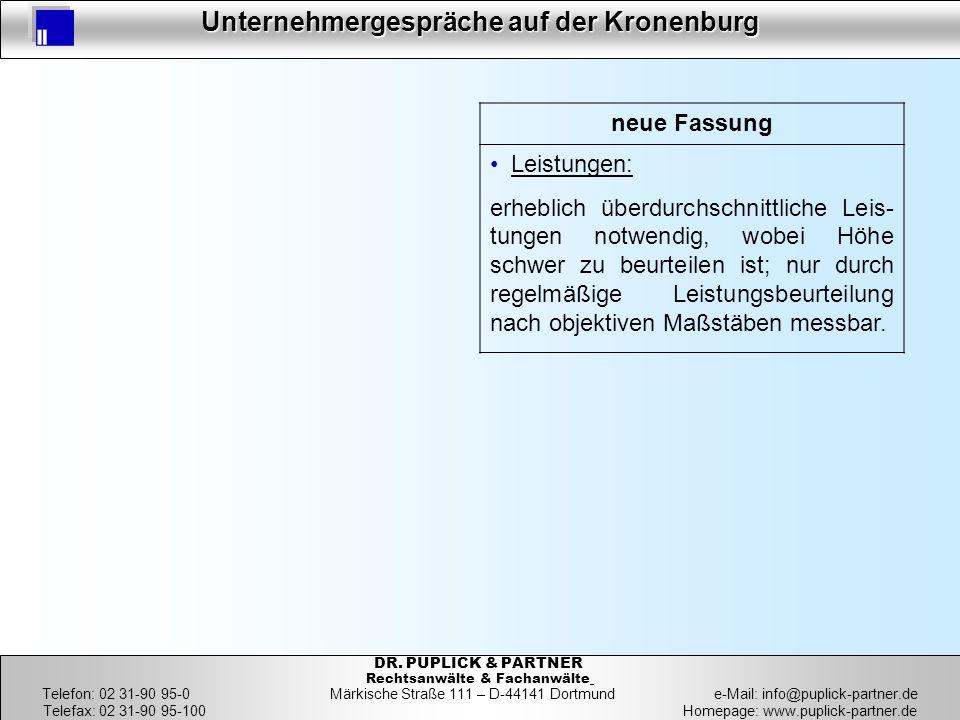 18 Unternehmergespräche auf der Kronenburg 18 DR. PUPLICK & PARTNER Rechtsanwälte & Fachanwälte Telefon: 02 31-90 95-0 Märkische Straße 111 – D-44141