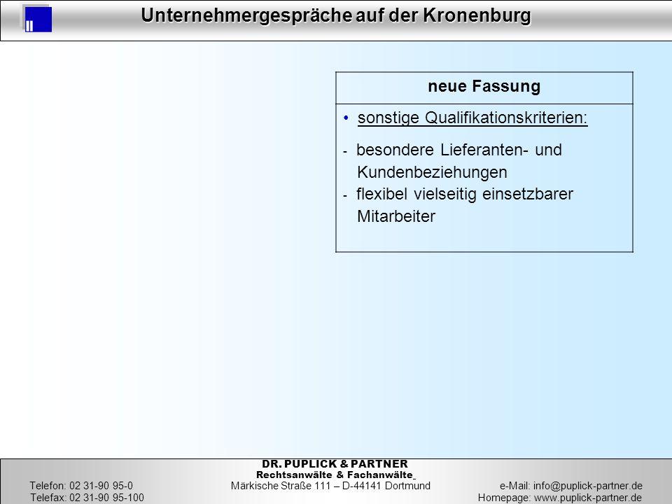 19 Unternehmergespräche auf der Kronenburg 19 DR. PUPLICK & PARTNER Rechtsanwälte & Fachanwälte Telefon: 02 31-90 95-0 Märkische Straße 111 – D-44141