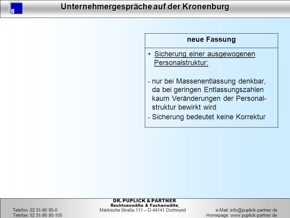 20 Unternehmergespräche auf der Kronenburg 20 DR. PUPLICK & PARTNER Rechtsanwälte & Fachanwälte Telefon: 02 31-90 95-0 Märkische Straße 111 – D-44141