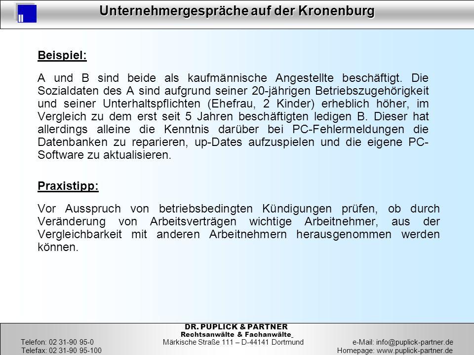 21 Unternehmergespräche auf der Kronenburg 21 DR. PUPLICK & PARTNER Rechtsanwälte & Fachanwälte Telefon: 02 31-90 95-0 Märkische Straße 111 – D-44141