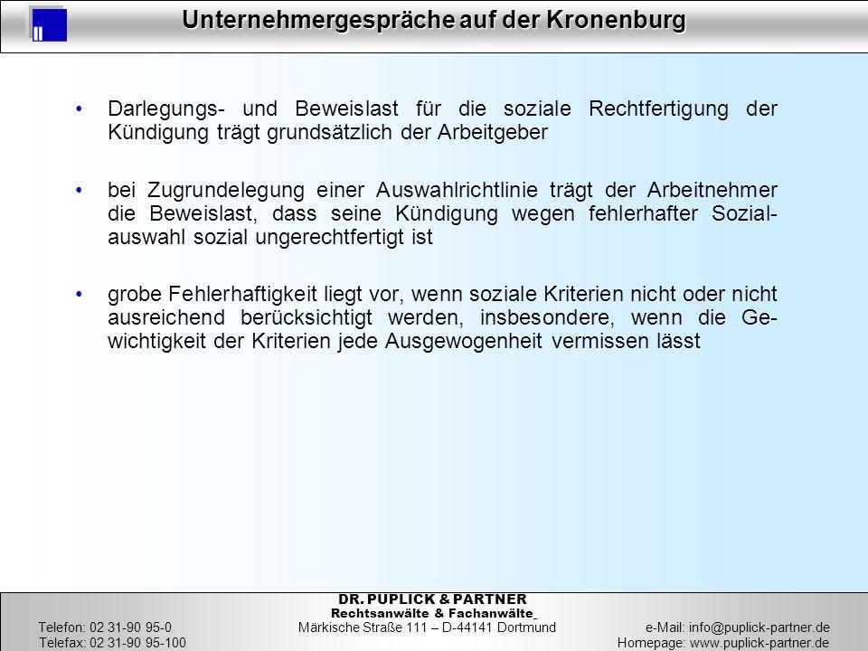 23 Unternehmergespräche auf der Kronenburg 23 DR. PUPLICK & PARTNER Rechtsanwälte & Fachanwälte Telefon: 02 31-90 95-0 Märkische Straße 111 – D-44141