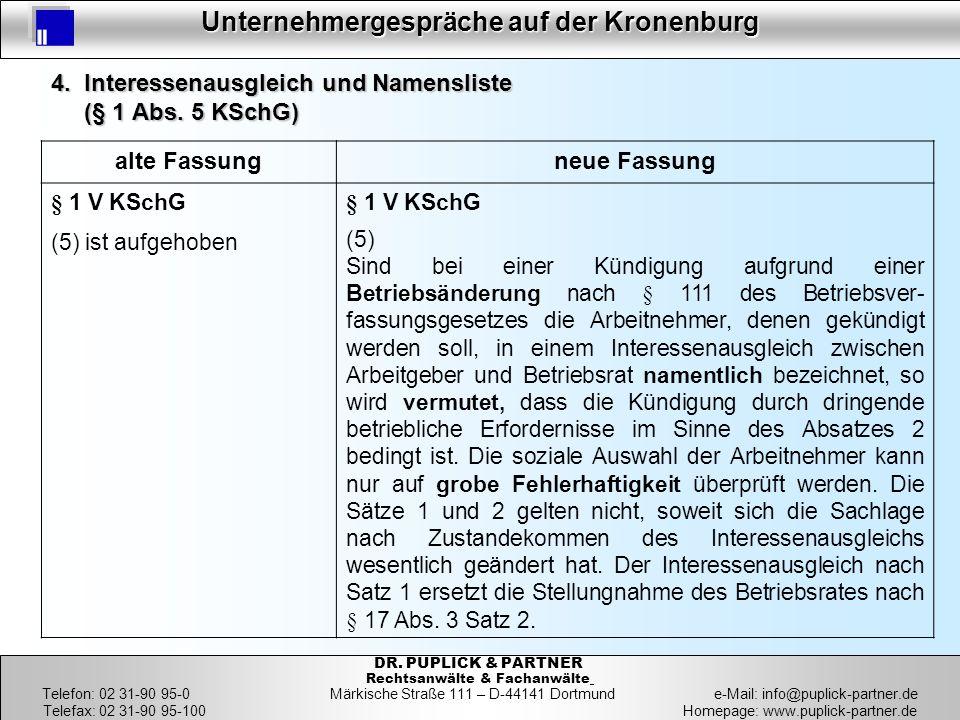24 Unternehmergespräche auf der Kronenburg 24 DR. PUPLICK & PARTNER Rechtsanwälte & Fachanwälte Telefon: 02 31-90 95-0 Märkische Straße 111 – D-44141
