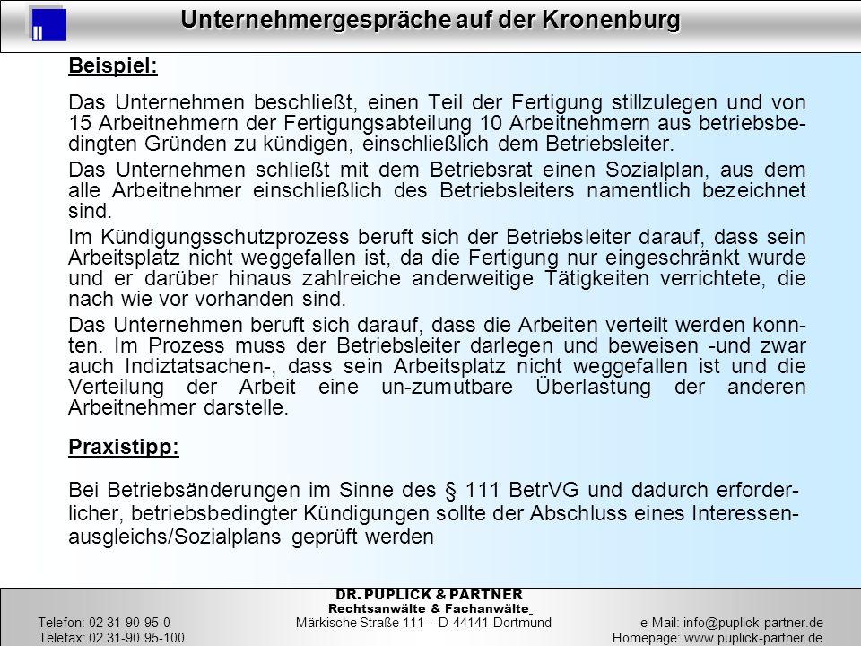 27 Unternehmergespräche auf der Kronenburg 27 DR. PUPLICK & PARTNER Rechtsanwälte & Fachanwälte Telefon: 02 31-90 95-0 Märkische Straße 111 – D-44141
