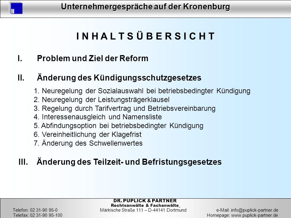 3 Unternehmergespräche auf der Kronenburg 3 DR. PUPLICK & PARTNER Rechtsanwälte & Fachanwälte Telefon: 02 31-90 95-0 Märkische Straße 111 – D-44141 Do