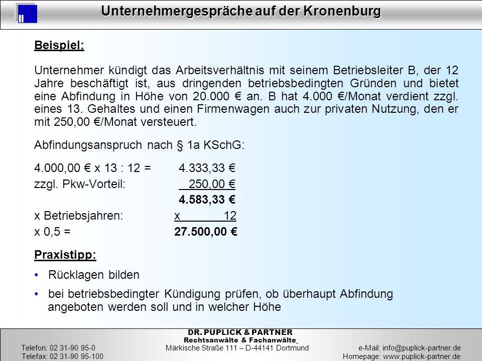 31 Unternehmergespräche auf der Kronenburg 31 DR. PUPLICK & PARTNER Rechtsanwälte & Fachanwälte Telefon: 02 31-90 95-0 Märkische Straße 111 – D-44141