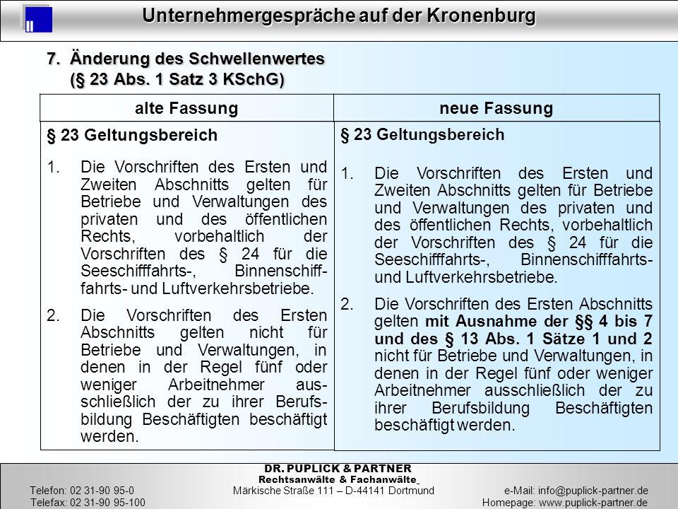 34 Unternehmergespräche auf der Kronenburg 34 DR. PUPLICK & PARTNER Rechtsanwälte & Fachanwälte Telefon: 02 31-90 95-0 Märkische Straße 111 – D-44141