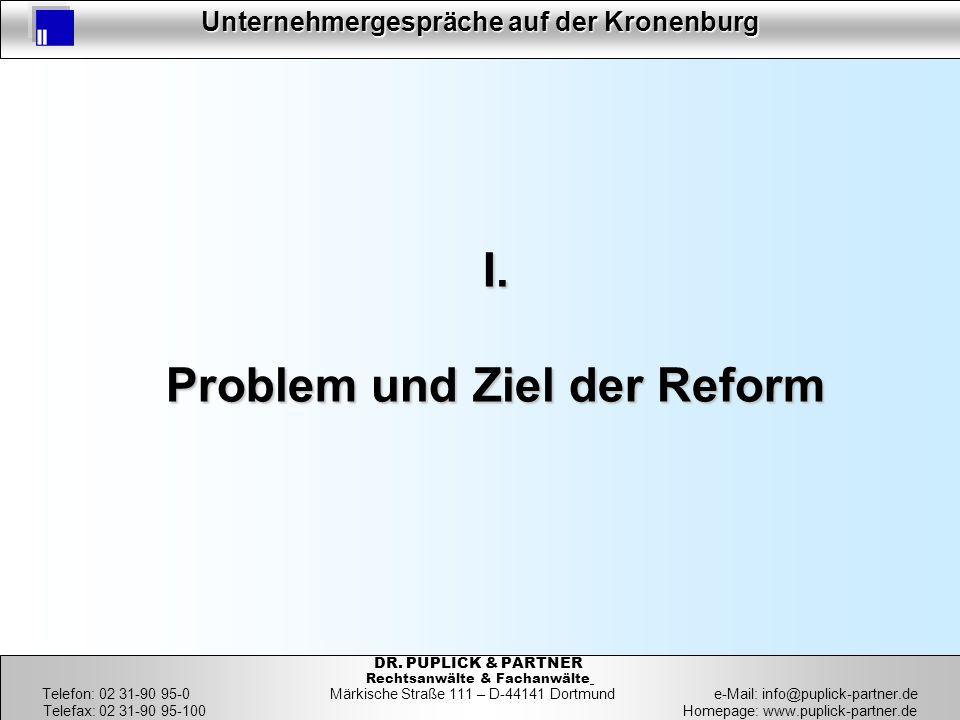 4 Unternehmergespräche auf der Kronenburg 4 DR. PUPLICK & PARTNER Rechtsanwälte & Fachanwälte Telefon: 02 31-90 95-0 Märkische Straße 111 – D-44141 Do