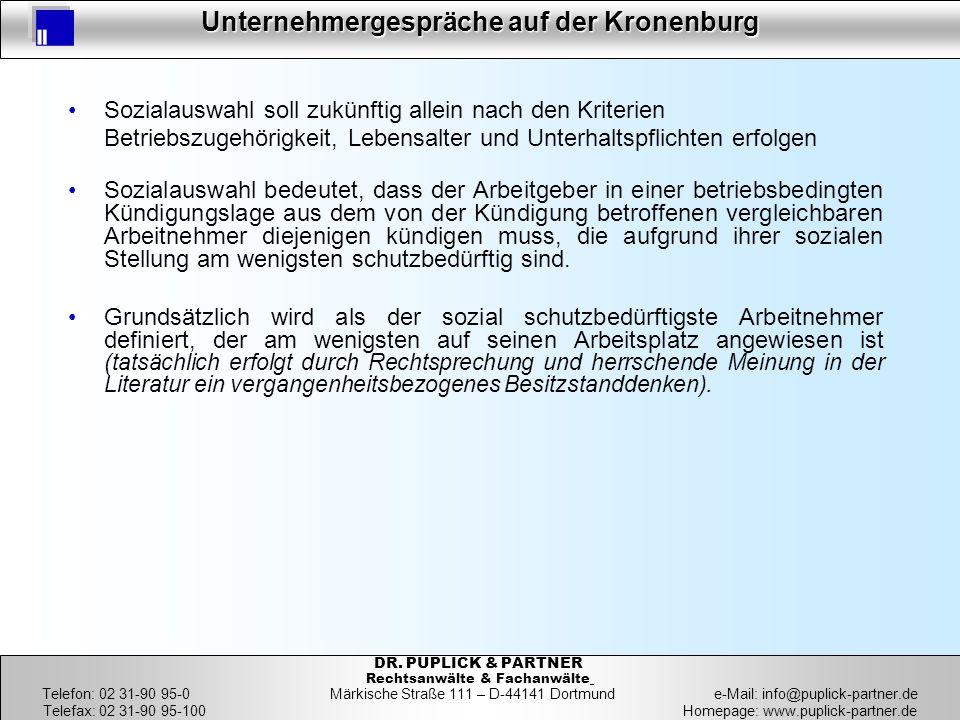 8 Unternehmergespräche auf der Kronenburg 8 DR. PUPLICK & PARTNER Rechtsanwälte & Fachanwälte Telefon: 02 31-90 95-0 Märkische Straße 111 – D-44141 Do