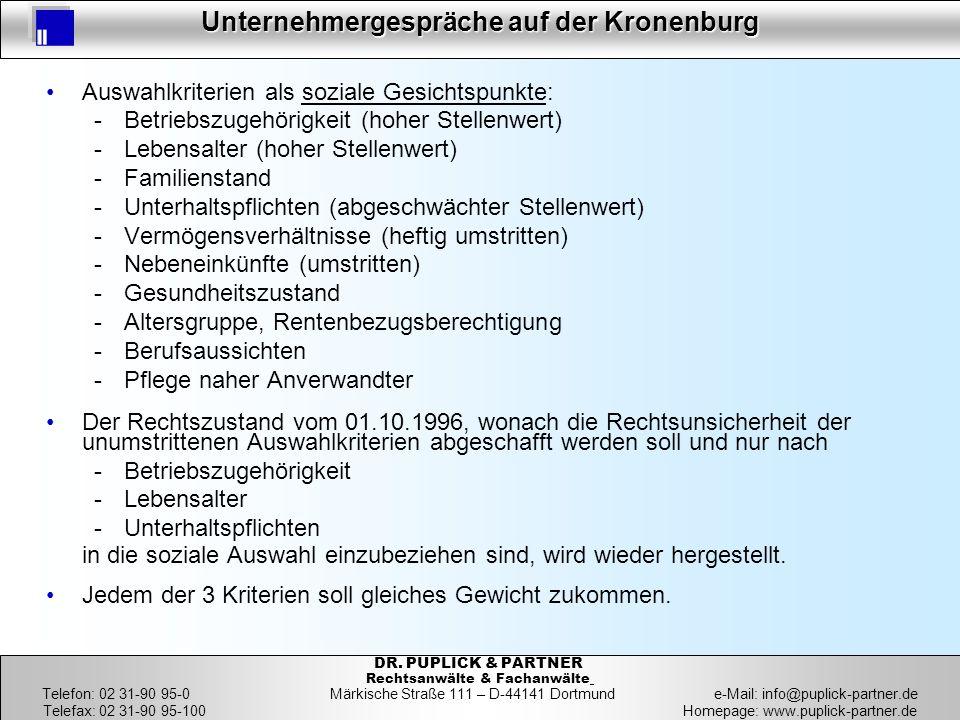 9 Unternehmergespräche auf der Kronenburg 9 DR. PUPLICK & PARTNER Rechtsanwälte & Fachanwälte Telefon: 02 31-90 95-0 Märkische Straße 111 – D-44141 Do