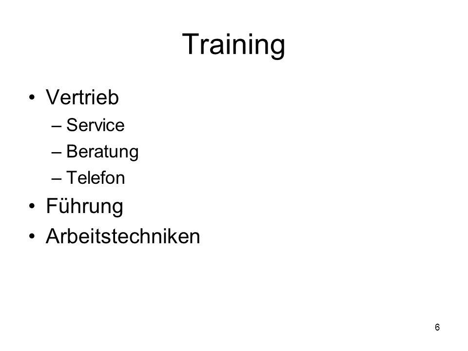 6 Training Vertrieb –Service –Beratung –Telefon Führung Arbeitstechniken