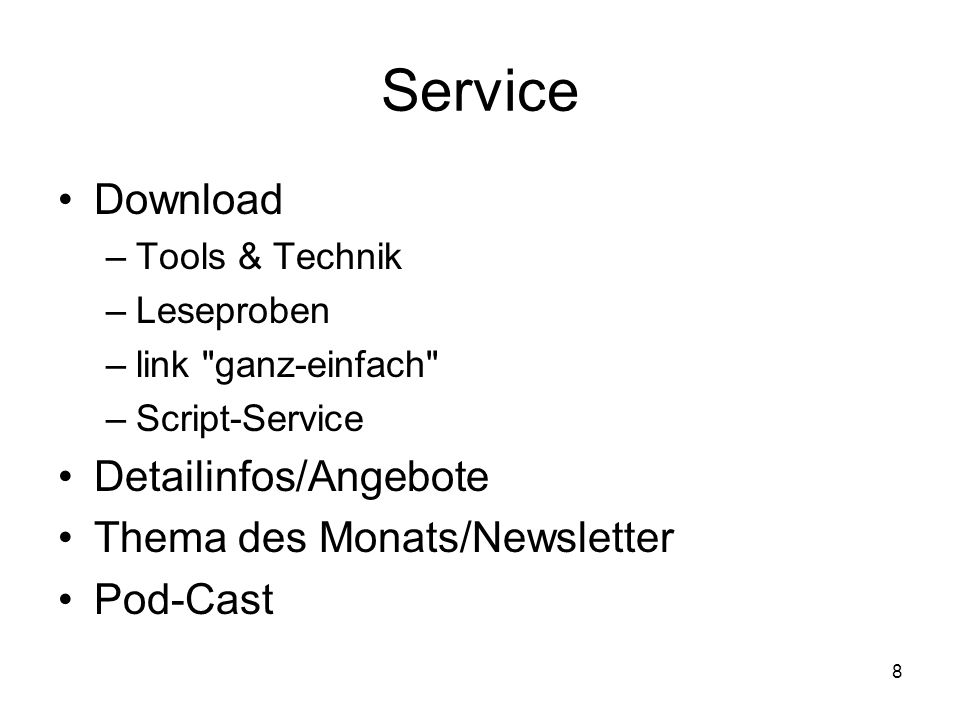 8 Service Download –Tools & Technik –Leseproben –link