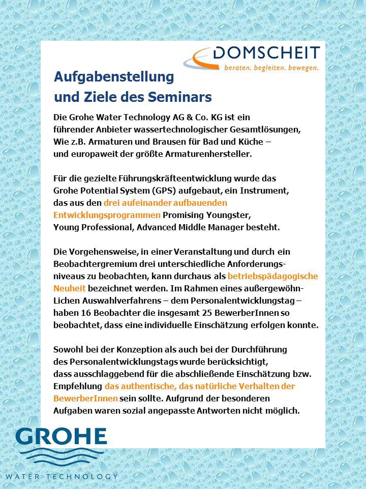 Aufgabenstellung und Ziele des Seminars Die Grohe Water Technology AG & Co. KG ist ein führender Anbieter wassertechnologischer Gesamtlösungen, Wie z.