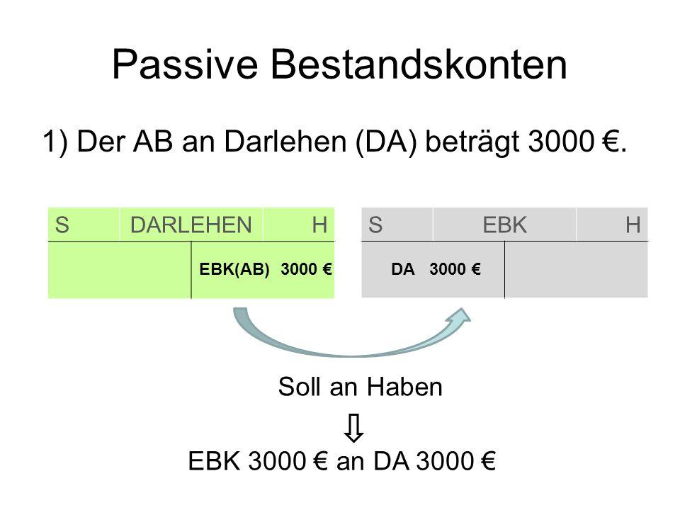 Passive Bestandskonten 1) Der AB an Darlehen (DA) beträgt 3000. SDARLEHENH SEBKH EBK(AB) 3000 DA 3000 Soll an Haben EBK 3000 an DA 3000