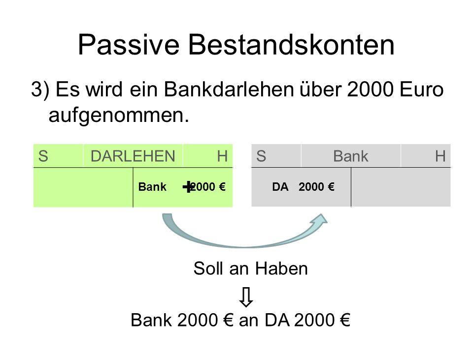 Passive Bestandskonten 3) Es wird ein Bankdarlehen über 2000 Euro aufgenommen. SDARLEHENH SBankH Bank 2000 DA 2000 Soll an Haben Bank 2000 an DA 2000