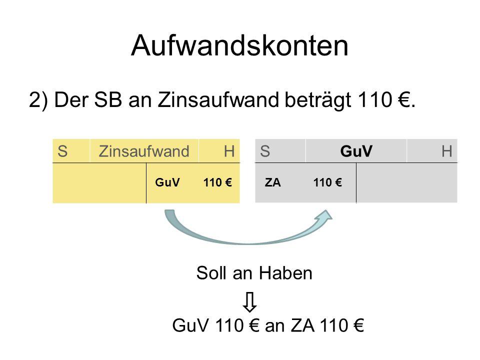 SZinsaufwandH Aufwandskonten SGuVH ZA 110 2) Der SB an Zinsaufwand beträgt 110. GuV110 Soll an Haben GuV 110 an ZA 110