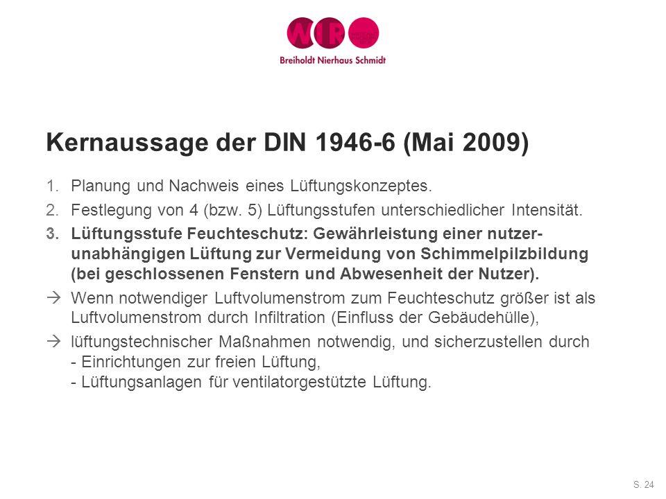 S. 24 Kernaussage der DIN 1946-6 (Mai 2009) 1.Planung und Nachweis eines Lüftungskonzeptes. 2.Festlegung von 4 (bzw. 5) Lüftungsstufen unterschiedlich