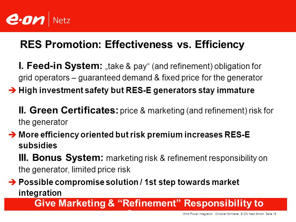 Seite 16Wind Power Integration Christian Schneller, E.ON Netz GmbH RES Promotion: Effectiveness vs. Efficiency Give Marketing & Refinement Responsibil