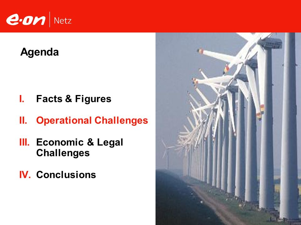 Seite 6Wind Power Integration Christian Schneller, E.ON Netz GmbH Facts & Figures Operational Challenges Economic & Legal Challenges Conclusions Agend