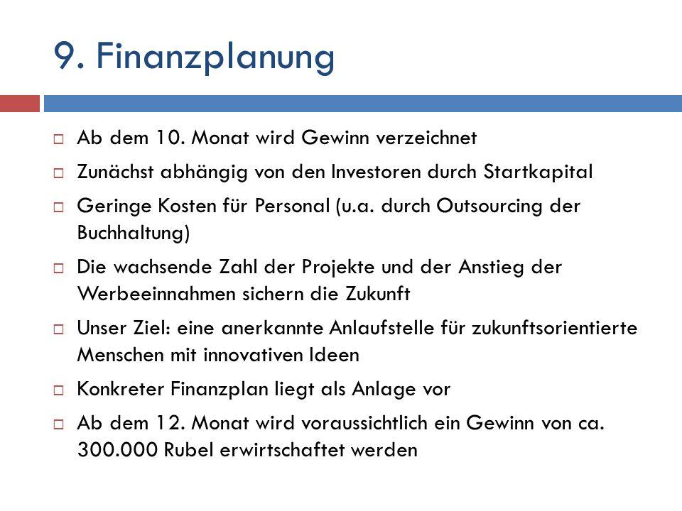 9. Finanzplanung Ab dem 10. Monat wird Gewinn verzeichnet Zunächst abhängig von den Investoren durch Startkapital Geringe Kosten für Personal (u.a. du