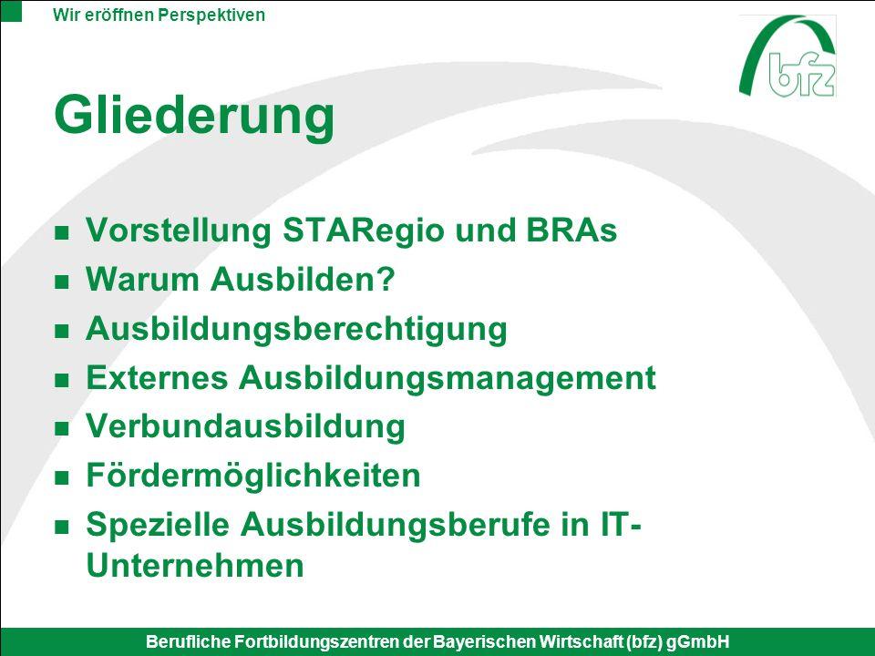 Wir eröffnen Perspektiven Berufliche Fortbildungszentren der Bayerischen Wirtschaft (bfz) gGmbH STARegio Strukturverbesserung der Ausbildung in ausgewählten Regionen Gefördert werden Projekte, die: Verbundausbildung Regionale Netzwerke Externes Ausbildungsmanage- ment Innovative Ideen