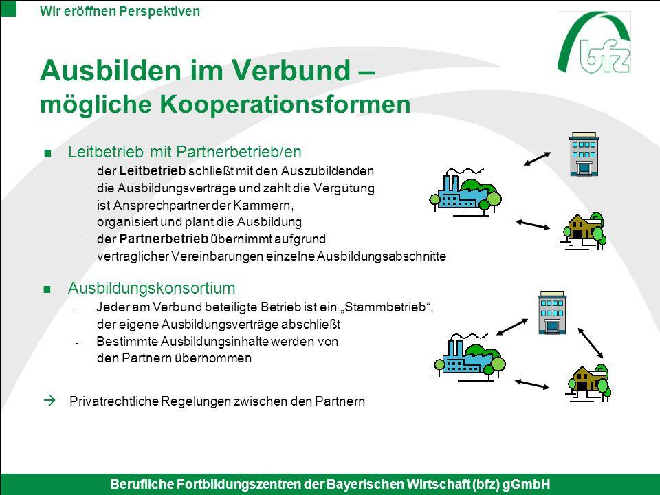 Wir eröffnen Perspektiven Berufliche Fortbildungszentren der Bayerischen Wirtschaft (bfz) gGmbH Ausbilden im Verbund – mögliche Kooperationsformen Lei