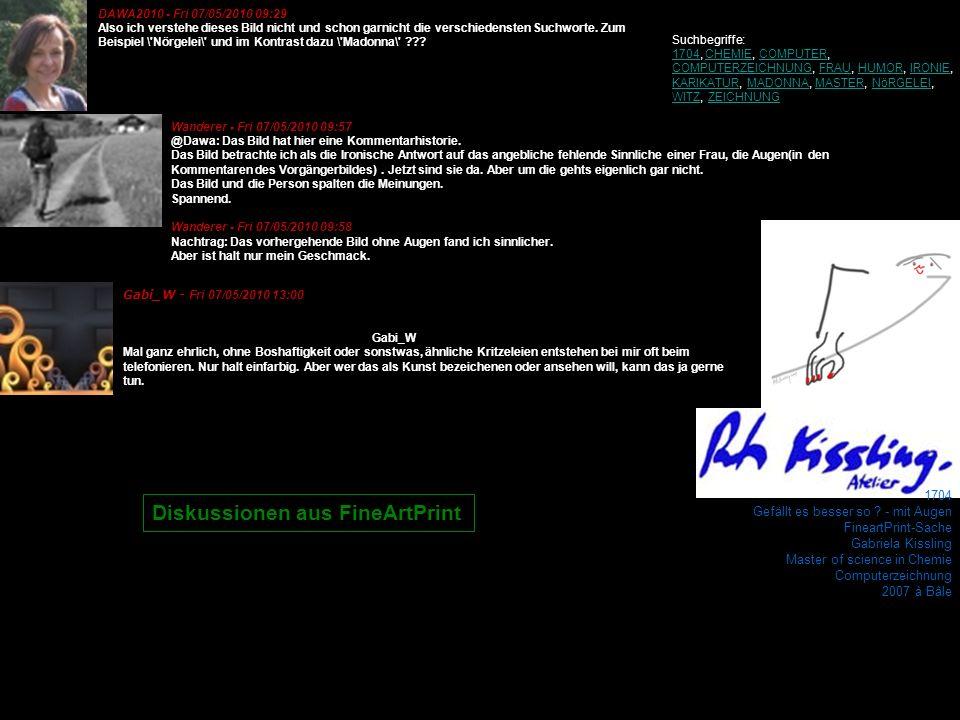 1704 Gefällt es besser so ? - mit Augen FineartPrint-Sache Gabriela Kissling Master of science in Chemie Computerzeichnung 2007 à Bâle Wanderer - Fri