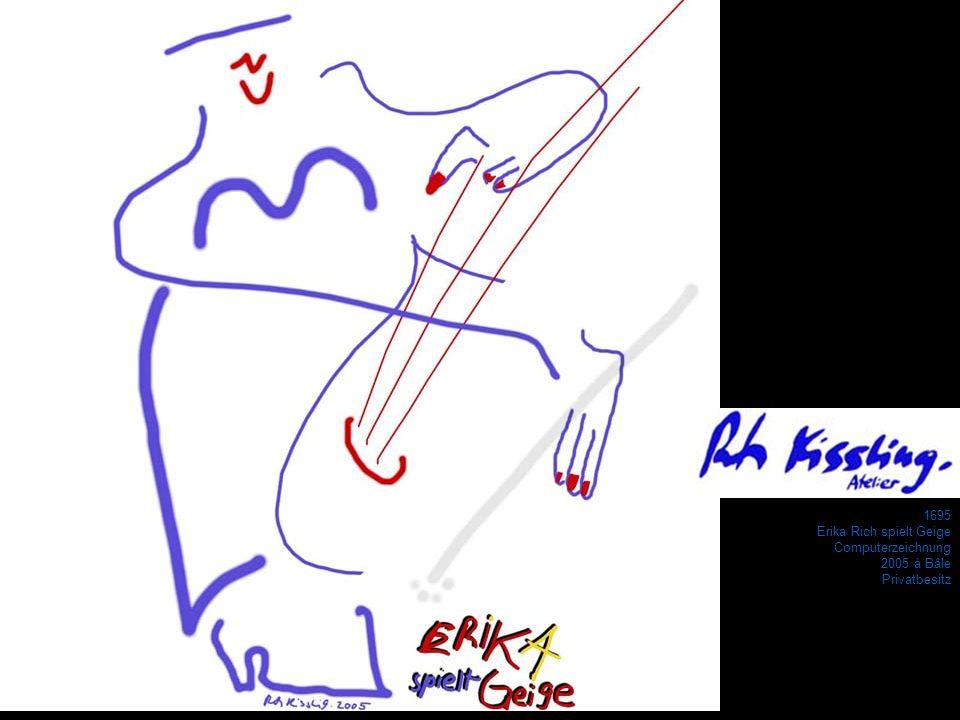 1695 Erika Rich spielt Geige Computerzeichnung 2005 à Bâle Privatbesitz