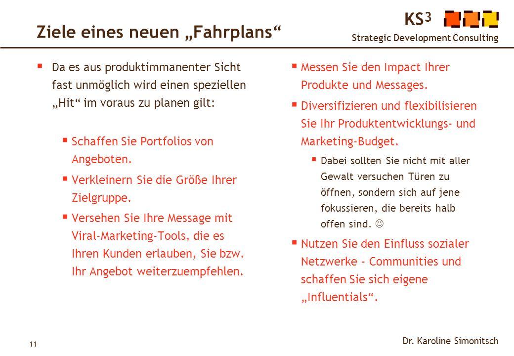 11 KS 3 Strategic Development Consulting Dr. Karoline Simonitsch Ziele eines neuen Fahrplans Da es aus produktimmanenter Sicht fast unmöglich wird ein