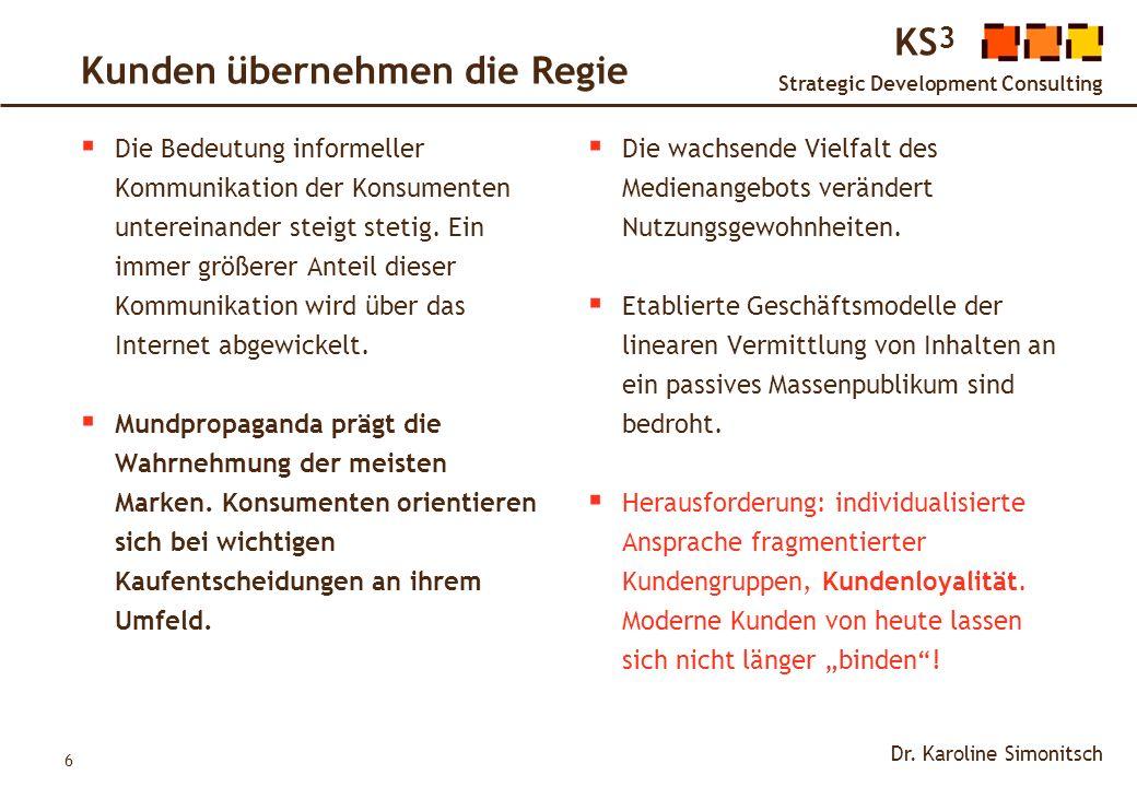 6 KS 3 Strategic Development Consulting Dr. Karoline Simonitsch Kunden übernehmen die Regie Die Bedeutung informeller Kommunikation der Konsumenten un