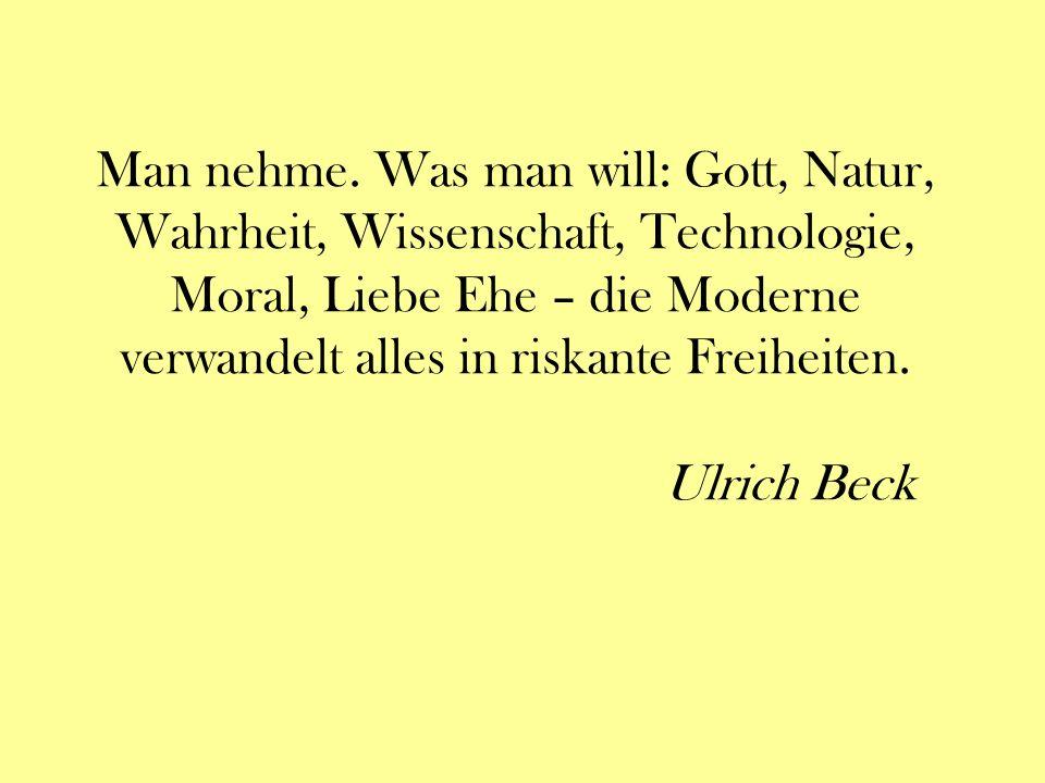 Man nehme. Was man will: Gott, Natur, Wahrheit, Wissenschaft, Technologie, Moral, Liebe Ehe – die Moderne verwandelt alles in riskante Freiheiten. Ulr
