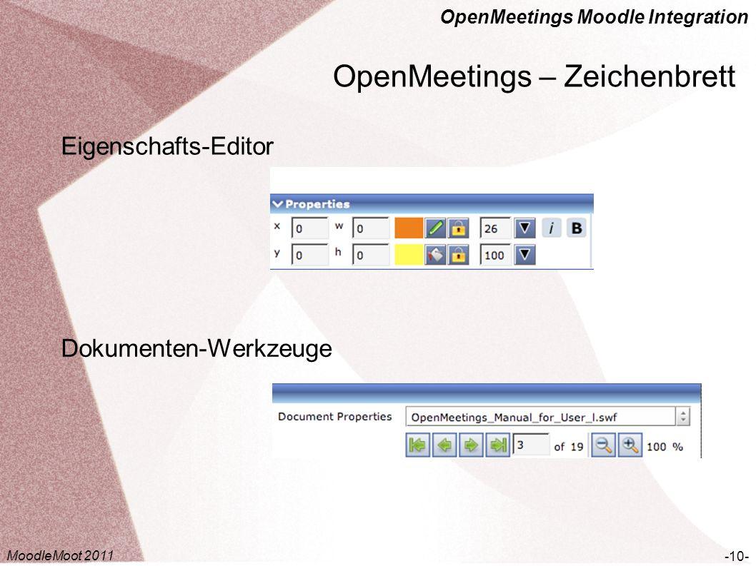 OpenMeetings Moodle Integration OpenMeetings – Zeichenbrett -10- Eigenschafts-Editor Dokumenten-Werkzeuge MoodleMoot 2011
